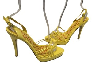 Wild Diva Strappy Platform Slingback Yellow Sandals
