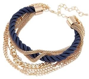 SALE! Brand New! Beautiful Fashion Bracelet In Navy Blue With Gold Tone Dangle Chain Links! GREA GIFT