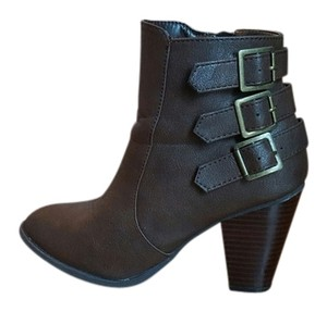 Bamboo Ankle Bootie Leather Sexy Brown Boots