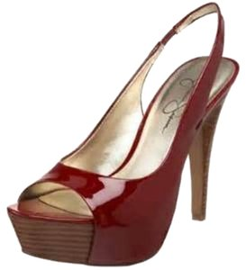 Jessica Simpson Red Patent Leather With Wood Platform and Heel Pumps