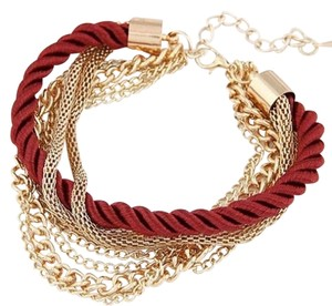 SALE! Brand New! Beautiful Fashion Rope Braided Bracelet With Gold Tone Chains! GREAT GIFT!