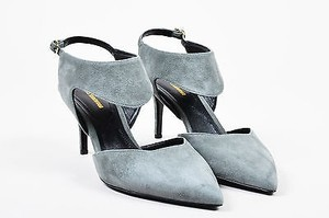 Nicholas Kirkwood Suede Sling Back Cut Out Pointed Heels Gray Pumps