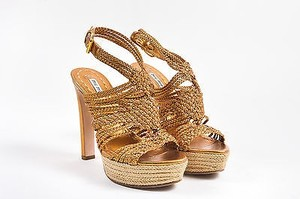 Miu Miu Leather Braided Platform Gold Sandals