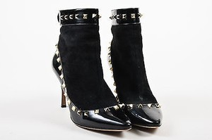 Valentino Suede Patent Leather Gold Tone Rockstud Ankle Black Boots