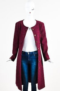 Chanel 01a Burgundy Cashmere Collarless Cc Button Down Long Red Jacket