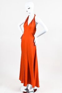 Orange Maxi Dress by Carolina Herrera Silk Wool Blend Halter Full Length Maxi