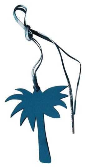Hermès Authentic Herms blue leather palm tree bag charm Key Chain