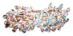 stunning huge hair clip with mult-colored sparkling crystal rhinestones large barrett lovely accessory blue pink red clear etc.
