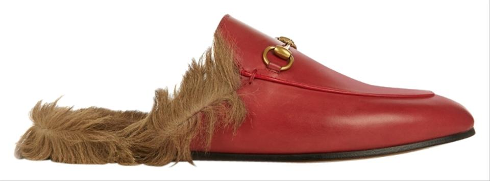 5b3e98d66 Gucci Red Princeton Fur Mule/Loafer 37.5 Tag Sleeper/ Sandals Size ...