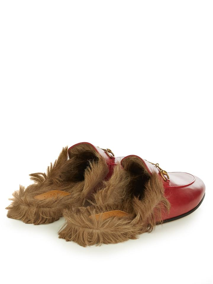 08aeb559462c Gucci Red Princeton Fur Mule Loafer 37.5 Tag Sleeper  Sandals Size ...