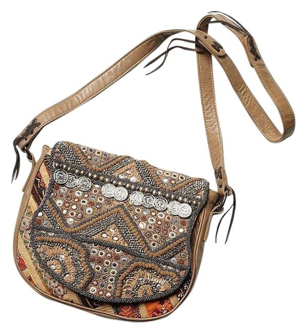 Item - Sienna Beige and Multi-color Leather Fabric Cross Body Bag