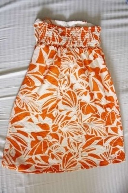 Other short dress orange/cream Tropical Strapless Floral Summer Spring Tube on Tradesy