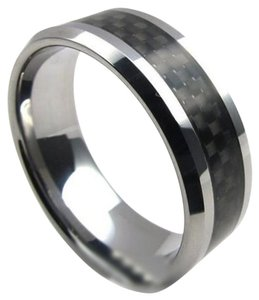 Tungsten Carbide Black 8mm Carbon Fiber Ring Free Shipping