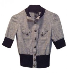 Bisou Bisou Plaid Fitted Jacket Office Work Night Out Button Down Shirt