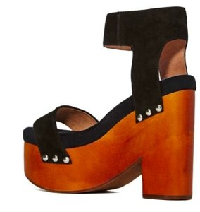 3f366fafc28 Jeffrey Campbell Mccloud Wood Chunky Suede Rivets Ankle Strap Black  Platforms