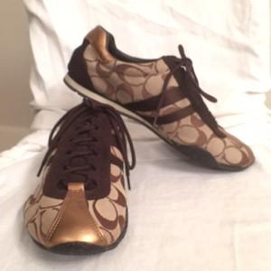 Coach Leather Gold Signature Logo Brown, Tan, Bronze Athletic