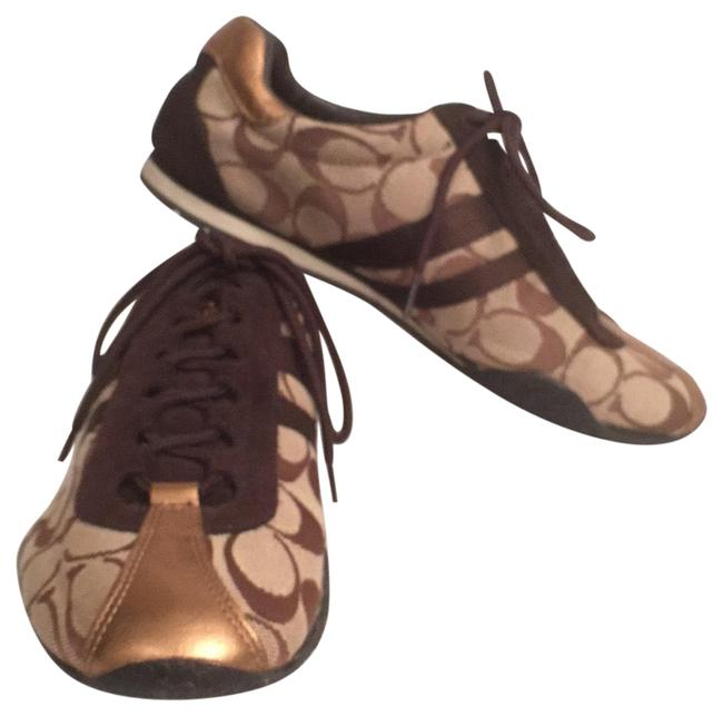 Item - Brown Beige Bronze Kate Signature Logo Canvas & Leather Sneakers Size US 7.5 Regular (M, B)