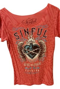Affliction T Shirt Orange
