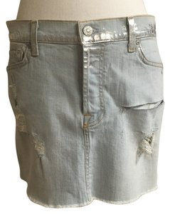 7 For All Mankind Mini Skirt Light wash metallic
