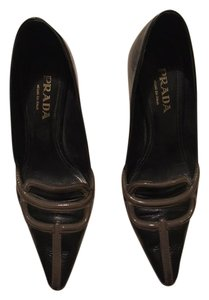 Prada Classy Leather Pointy Prada fancy and chic black with gray accents Pumps