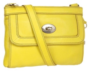 Fossil Marlow Leather Top Zip Purse Citrus Cross Body Bag