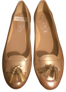 Tod's Leather Tassles rose gold Flats