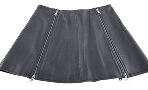 BCBGMAXAZRIA Leather Double Zip Skirt Black