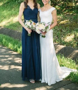 BHLDN Navy Tulle Lace Fleur Style Number: 36081792 Feminine Bridesmaid/Mob Dress Size 2 (XS)