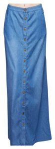 Other Bodycon Spring Summer Comfy Casual Maxi Skirt Chambray Denim