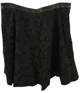 Ann Taylor Leather Skirt Black Lace