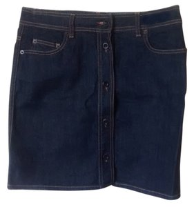 See by Chloé Front Button Buton Down Mini Skirt Dark blue denim