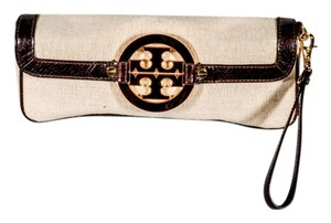 Tory Burch Wristlet Leather Canvas Logo Burlap tan and bown Clutch