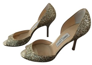 Jimmy Choo Glitter D'orsay Heel Stiletto Champagne Formal