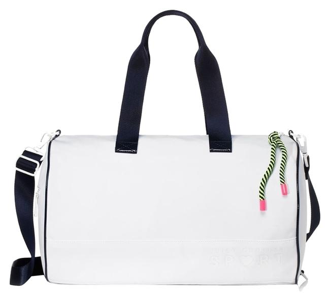 Item - Duffle Large White with Black Trim Nylon Jute Leather Weekend/Travel Bag