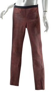 Helmut Lang Distressed Skinny Pants Muted Red Leather