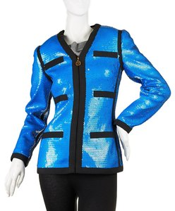 Chanel Women's Sequin Blue Blazer
