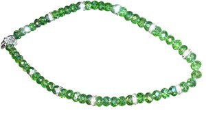 Other Beautiful crystal lucite green beads with rhinestone bar choker necklace brilliant sparkle - measures about 8