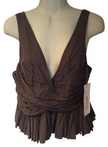 Hache Sleeveless Cotton Top brown