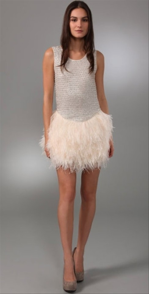Haute Hippie Silver/Swan Silk and Marabou Feather Sequin Wedding ...