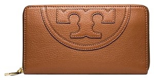 Tory Burch Tory Burch All-T Zip Continental Wallet Bark Brown Tan Leather New With Tag