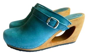 Sanita Leather Wooden Wedge Suede Light blue Mules