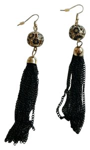 Forever 21 Black and gold tassel earrings