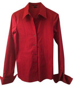 Theory Blouse Office Fashion Long Cuffs Button Down Shirt Red