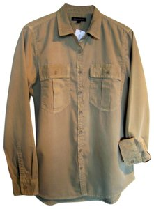 Banana Republic Soft Cotton Utility Button Down Shirt Khaki