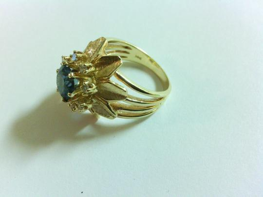 14Kt. Gold, Diamond and Blue Topaz Cocktail Ring Vintage 14 Kt Gold, Diamond & Blue Topaz Cocktail Ring