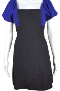 Anthropologie short dress Blue & Black Puffy Sleeves on Tradesy