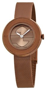 Gucci Brown Woven Mesh Bracelet Logo Print Dial Ladies Designer Dress Watch