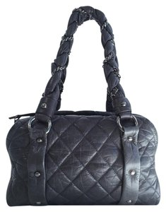 Chanel Quilted Grey Bowler Shoulder Bag