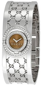 Gucci Brown Dial with 72 Diamonds Silver GG Logo Print Stainless Steel Cuff Bracelet Dress Watch