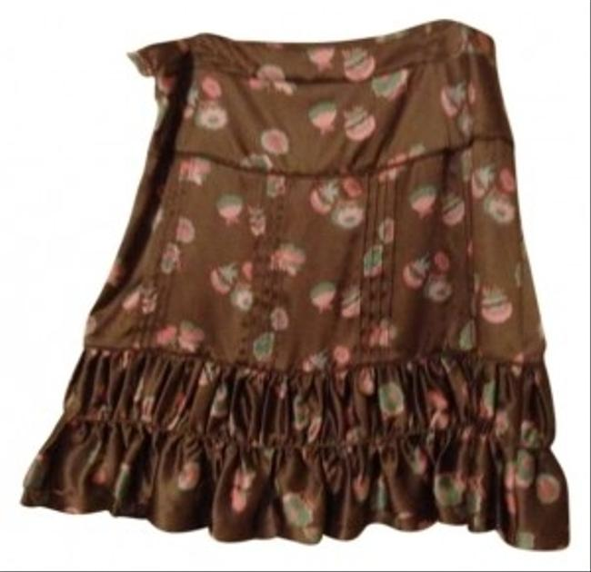 Marc Jacobs Silk Flirty Feminine Skirt Brown